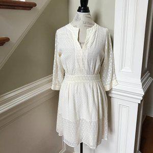 Tory Burch Embroidered Boho Dress 10 M Ivory Cream V-Neck 3/4 Sleeve